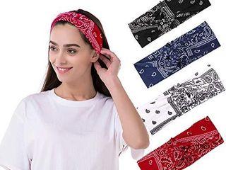 4 Pcs Vintage Flower Printed Headbands  Boho Floal Style CrissCross Elastic Head Wraps  lightweight Fashion Cotton Hair Band for Women Girls By HAIAISO cashew