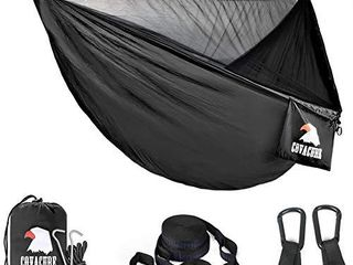covacure Camping Hammock   lightweight Double Hammock  Hold Up to 772lbs  Portable Hammocks for Indoor  Outdoor  Hiking  Camping  Backpacking  Travel  Backyard  Beach Black