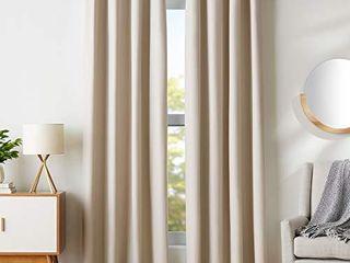 Amazon Basics Room Darkening Blackout Window Curtains with Grommets   52  x 84  Beige  2 Panels