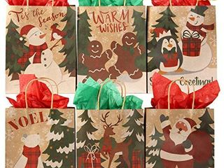 24 pcs  Christmas Gift Bags  Paper Kraft Bags  Goody Bags with Christmas Characters for Xmas Party  Party Favors  Gift Giving  Holidays Kraft Bags Characters Christmas Craft Bag Assortment