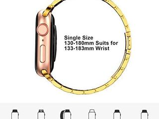 Fitlink Stainless Steel Metal Band for Apple Watch 38 40 42 44mm Strap Replacement link Bracelet Band Compatible with Apple Watch Series 6 Apple Watch Series 5 Apple Watch Series 1 2 3 4 Gold 42 44mm