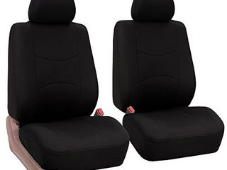 FH Group Universal Fit Flat Cloth Pair Bucket Seat Cover   Black   FH FB050102  Fit Most Car  Truck  Suv  or Van