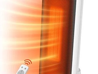 Taotronics Space Heater 1500W Electric Small Portable with Remote Control for Indoor Use  65AOscillation ECO Mode Tip Over Switch   Overheating Protection lED Display  18Inch  White