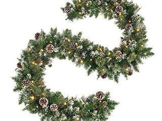 OasisCraft 9 FT Prelit Christmas Garland with Pine Cones  Artificial Snowy Pine Garland for Christmas 50 lED Battery Operated Warm lights and Timer Xmas Garlands Decor Indoor Outdoor