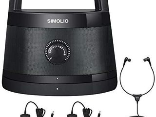 SIMOlIO 2 4G Wireless TV Speakers System  Wireless Soundbox for Seniors  Wireless Speakers for TV listening  Voice Clear Portable TV Speakers for Hearing Impaired  Extra Headset   Adapter SM 621