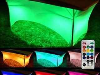 Neon lED Glow Tablecloths for Parties a light Up Your Event with 13 Vibrant Colors which Auto Change and Fade a Spandex Stretchy Table Cloth in White  with Remote Control  Batteries Included  6FT