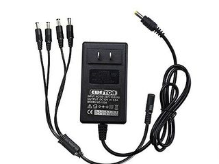 EWETON Security Camera Power Adapter 12V 2 5A 100V 240V AC to DC 2 1x5 5mm w  4 Way Power Splitter Cable FCC