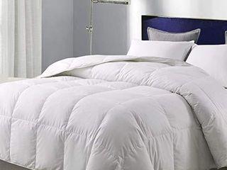 WhatsBedding White Goose Duck Down Comforter 100  Cotton Feather Comforter   lightweight Duvet Insert   Queen 88x88