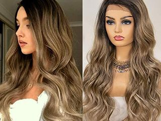 K ryssma Ash Blonde lace Front Wig Ombre Side Deep Parting long Wavy Ombre Synthetic Wigs 22 inch 130  Density Heat Resistant Ombre Blonde Wigs