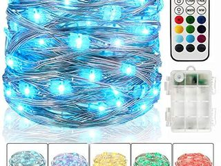 Color Changing Twinkle lights with Remote Timer  Pure Warm White   RGB Colors Dimmable Fairy Starry String lights Waterproof Silver Wire Firefly lights Battery Operated 33ft 100lED  10 Colors  NOT INSPECTED