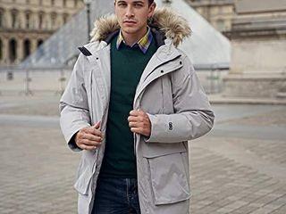 GYMAX Men s Fur Down Coat  Hooded Thicken Warm Winter Coat long Down Jacket Parka  Grey  XXX large