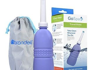 Brondell GoSpa Travel Bidet GS 70 Easy to use Portable Bidet with Convenient Nozzle Storage  Travel Bag  400 ml Capacity  and Angled Nozzle Spray