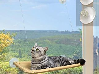 Window Cat Bed  Angela Alex Cat Window Seat Window Perch Bed Hammock with 2 Extra Replaceable Suction Cups Space Saving All Around 360A Sunbath Holds Up to 55 lbs for Any Cat Size