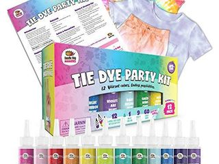 Doodlehog Easy Tie Dye Party Kit for Kids  Adults  and Groups  Create Vibrant Designs with Non Toxic Dye  12 Colors Included  Beginner Friendly  Just Add Water  Dye up to 10 Medium Kids T Shirts