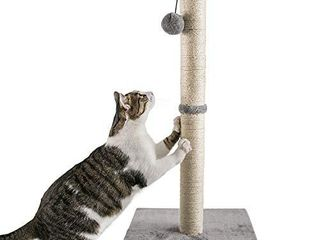 Qucey 32 Inches Tall Cat Scratching Post  Claw Scratcher with Sisal Rope Include a Cat Interactive Plush Ball Toy