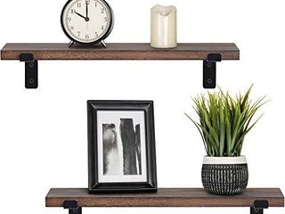 Mkono Wood Floating Shelves Rustic Modern Wall Mounted Storage Shelf with lip Brackets for Bathroom Bedroom living Room Kitchen Office Set of 2  Brown