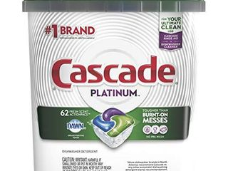 Cascade Platinum Dishwasher Pods  ActionPacs Detergent  Fresh  lOOKS USED AMOUNT unknown not COUNTED