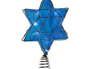 Kurt Adler Ul 10 light lED Silver and Blue Hanukkah Star Shimmer Treetop