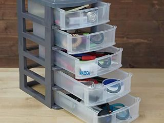 Massca 5 Drawer Storage Drawers and Personal Organizer  Heavy Duty Plastic Containers for Storing Arts  Crafts  Sewing Accessories  Stationary  and T Shirt Vinyl