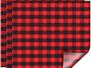 Christmas Buffalo Plaid Heat Transfer Vinyl Fabric Red Black Check Vinyl Sheets Adhesive Iron on Vinyl Patches for Clothes 12 x 12 Inch 10 Sheets