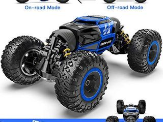 BEZGAR 16 Toy Grade1 14 Scale Remote Control Crawler  4WD Transform 15 Km h All Terrains Electric Toy Stunt Cars RC Monster Vehicle Truck Car with Rechargeable Batteries for Boys Kids Teens and Adults