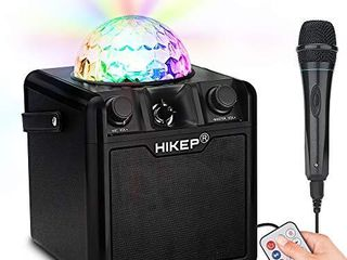 HIKEP Bluetooth Karaoke Machine with Disco Ball  Karaoke Home System Portable PA System Rechargeable Wireless Speaker for Kids Adults for Birthday Parties Karaoke Activities