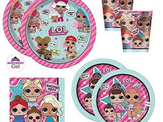 lOl Doll Birthday Party Supplies Set   Dinner and Cake Plates  Cups  Napkins  Decorations  Standard   Serves 16