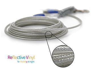 Petest 25ft Reflective Tie Out Cable with Buffer Spring for large Dogs Up to 90 Pounds