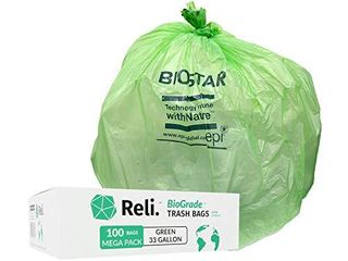 Reli  Biodegradable 33 Gallon Trash Bags  100 Count Bulk  Green Eco Friendly Garbage Bags AMOUNT unknown