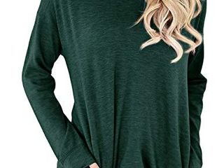 Nlife Women long Sleeves Shirt loose Fit Casual Pullover Tops with Pocket Pure Green