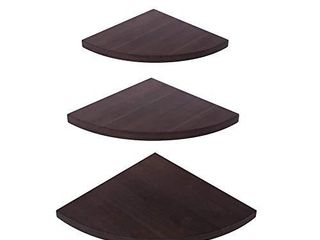 OROPY Wall Mount Solid Wood Floating Corner Shelves Set of 3  Rustic Wall Storage Display Shelf for Bedroom  living Room  Kitchen  Office  11 4 9 8  7 8 inches