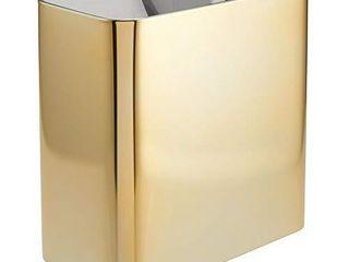 mDesign Rectangular Modern Metal Small Trash Can Wastebasket 10  Garbage Container Bin   Soft Brass
