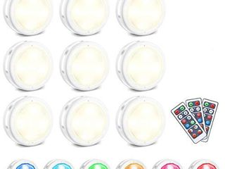 lED Closet lights SOlMORE Wireless Color Changing RGB Puck light 9 Pack with 3 Remote Controls