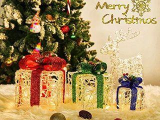 Set of 3 Christmas lighted Gift Boxes  60 lED light Up Gift Boxes Indoor Outdoor Christmas Tree Party Decor  Warm White
