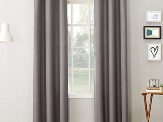 No  918 Montego Casual Textured Grommet Curtain Panel  48  x 95  Nickel Gray