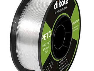 Dikale PETG 3D Printer Filament Clear 1 75mm No Tangle  Net Weight 2 2lbs Spool  1kg  Transparent