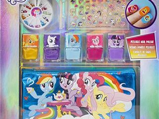 Townley Girl Hasbro My little Pony Peel  Off Nail Polish Activity Set for Girls  Ages 3  With 5 Nail Polish Colors  240 Nail Gems and Bag  for Parties  Sleepovers and Makeovers 1 bottle of polish broken