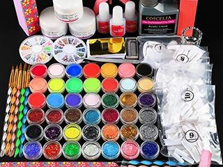 Acrylic Nail Kit Set Professional Acrylic with Everything Acrylic Powder and liquid Monomer Set 42pcs Glitter Powder False Tips Manicure Tools Starter Kit for Beginner Gift for Women Girls