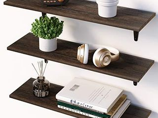 BAMFOX Floating Shelves Wall Shelf Set of 3 Wall Mounted Floating Shelf with large Storage for Bedroom Bathroom living Room Kitchen Office