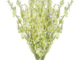 BOMAROlAN Artificial Orchid Silk Fake Flowers 10 Pcs  White