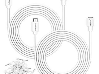 Cellularize  2 Pack  Micro USB Extension Cable  White  3M 10FT  Male to Female Extender Power Cord Compatible with WyzeCam Wireless Security Cameras  Arlo Pro  Cable Clips Included