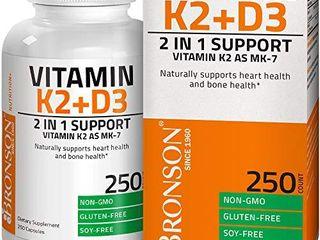 Vitamin K2  MK7  with D3 Supplement Bone and Heart Health Non GMO Formula 5000 IU Vitamin D3   90 mcg Vitamin K2 MK 7 Easy to Swallow Vitamin D   K Complex  250 Capsules