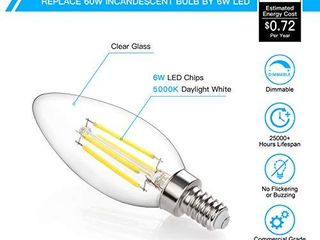 Dimmable lED Candelabra Bulb 60W Equivalent  Pack of 12