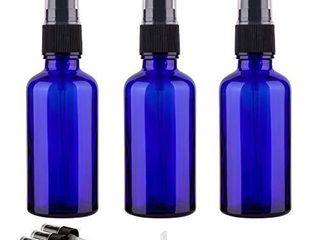 2oz Small Fine Mist Spray Bottles For Essential Oils  Blue Glass Spray Bottle 3 Pack