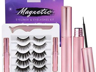 Arishine Magnetic Eyeliner and lashes Kit  Magnetic Eyeliner for Magnetic lashes Set  With Reusable lashes  5 Pairs