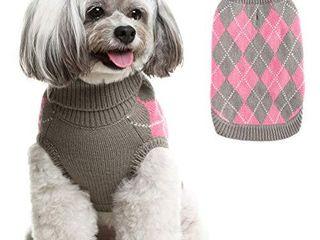 Classic Dog Sweater Knit Turtleneck  Plaid Knitwear Sweaters  Small