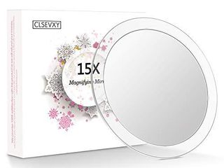 ClSEVXY 15X Magnifying Mirror with 3 Suction Cups for Easy Mountinga Use for Makeup Application   Tweezing a and Blackhead Blemish Removal a Round Mirror Comes with 1PC Storage Bag  6 Inch