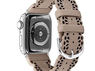 Secbolt leather Bands Compatible with Apple Watch Band 42mm 44mm iWatch SE Series 6 5 4 3 2 1  Breathable Chic lace leather Strap for Women  Tan