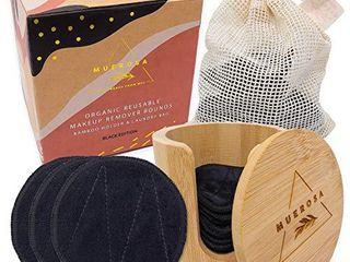 MUEROSA 14 pcs Reusable Bamboo Makeup Remover Pads   100  Natural Bamboo Fiber Rounds   Soft Face Pads Facial Cleasing Skincare Set  14 Pads   Bamboo Holder   laundry Bag  BlACK EDITION