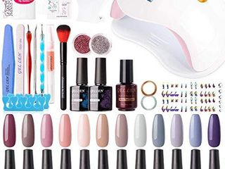 Gellen 12 Colors Gel Nail Polish Starter Kit   with 72W UV lED Nail lamp Top Base Coat  Essential Home Manicure Tools Popular DIY Nail Art Designs Matte Glitters Rhinestones  Nude Grays